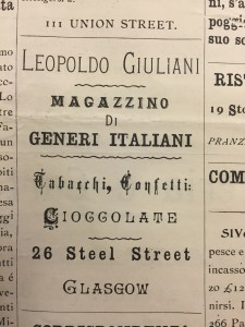 An advert for Leopoldo Giuliani